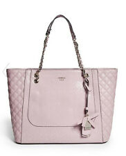 NWT GUESS Marian Carryall Tote Shopper Handbag Purse Logo Embossed Quilted pink