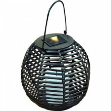 New Solar Powered Round Rattan Hanging Garden Lantern With Flickering LED Candle