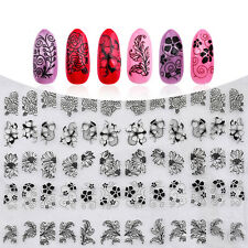 1 Sheet 3D Nail Art Sticker Decals Manicure UV Gel Polish Black Flowers Theme