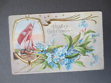 ANTIQUE Postcard Greetings 1910 Stecher Litho Co NY Sailing Boat Forget Me Nots