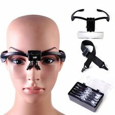 NEW Headband Headset LED Head Light Magnifier Magnifying Glass Loupe + 5-Lens UL