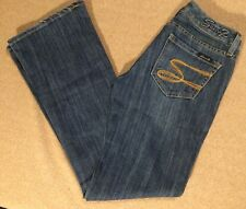 SEVEN7 Jeans Womens 27 Flare Dark Wash Ultra Low Rise Denim