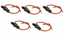 5 PC 12 GAUGE ATC FUSE HOLDER IN-LINE AWG WIRE COPPER 12 VOLT POWER BLADE