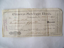 1893 CERTIFICATE OF DEPOSIT SAVING CITIZENS BANK PORTSMOUTH OHIO OH 119 YRS OLD
