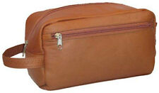 David King Vaquetta Leather Large Shave / Toiletry Kit Travel Bag 415 - Tan