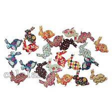 50x Bulk Mix Colours Rabbit Wooden Sewing Buttons Scrapbooking Jewelry Makings C