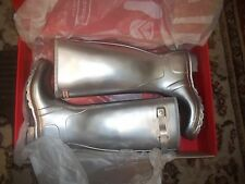 HUNTER WELLINGTONS IN HALIFAX & BRADFORD SILVER ORIGINAL WOMENS  TALL SIZE 8