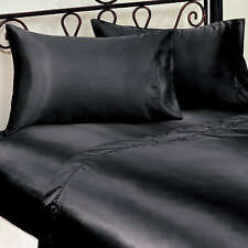 LUXURY SEXY SATIN PLAIN BLACK KING SIZE BED FITTED SHEET FULLY ELASTICATED