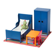 IKEA HUSET Childrens Doll Miniature Bedroom Furniture Toys Blue New