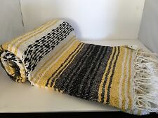 """AUTHENTIC YELLOW/GRAY MEXICAN FALSA BLANKET HAND WOVEN YOGA BLANKET 48"""" X 72"""""""