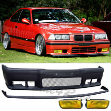 92-98 BMW E36 M3/3-Series front bumper lip & yellow oem fog light 2/4 Drs NEW