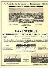 SARREGUEMINES DIGOIN VITRY-LE-FRANCOIS FAIENCES MOSAIQUE OLAGNIER PUBLICITE 1934