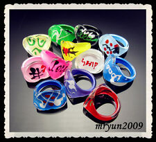 Free lots 20pcs Shiny kids share Mixed size colors Heart Acrylic Painting Ring