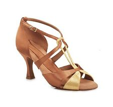"Tan/gold Capezio Melody 2.5"" heel ballroom latin dance shoes - size UK 3.5"