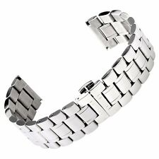 18/19/20/22/24mm Mens Womens Watch Band Silver/Black Solid Stainless Steel Strap