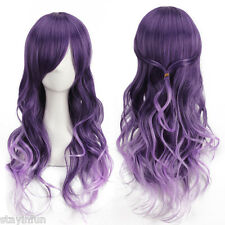Harajuku Women Gradient Purple Curly Wavy Long Wigs Cosplay Party Full Hair