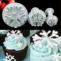 3X Snowflake Plunger Mold Decorating Cake Tools Cookie Cutter Fondant Sugarcraft
