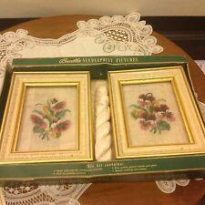 Vtg Antique set of 2 Bucilla needlepoint Floral pictures W/ frames (UF) Kit 9189