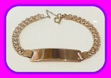HEAVY 14.37G GENUINE SOLID 18CT GOLD VINTAGE FANCY LINK ENGLISH ID BRACELET HM