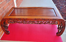 Antique Chinese Carved Birds & Cherry Blossom Reticulated Huanghuali Kang Table