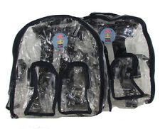 LOT OF 2 New Clear Navy Blue Transparent See-Thru Backpack Handbag PVC sz Small