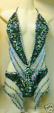 Da NeeNa M068 Showgirl Vegas Stage Drag Sexiest Latin Green Leotard XS-XL