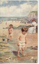 FUN ON THE SANDS Water Babies TUCK series 9473 UK PC Posted 1906