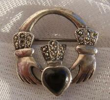 Fine VINTAGE Solid SILVER 925 Celtic Irish CLADDAGH Marcasite & Jet Heart Brooch