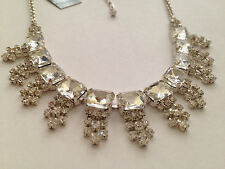 NEW CEZANNE Silver-Tone Pave Setting Crystal Glitz Frontal Necklace