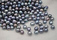 fine lots of rice drop real cultured freshwater pearl half drilled loose beads 6