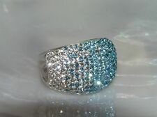 Estate Wide 925 Thailand Marked SIlver Band with Shades of Aqua Blue Rhinestone