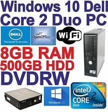Windows 10 Dell Core 2 Duo 2x3.00GHz Desktop PC Computer - 8GB RAM - 500GB Wi-Fi