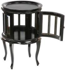 COLONIAL TABLE BARTISCH VITRINE für FLASCHEN, COUCHTISCH rund - TEETISCH schwarz