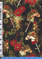 Fabric Hoffman DASHING ALL THE WAY Christmas HOBBY HORSE poinsettias BLK 2yd, 9""