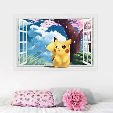 Cute Pikachu Pokemon 3D Window View Decal Graphic WALL STICKER Kids Decor Mural