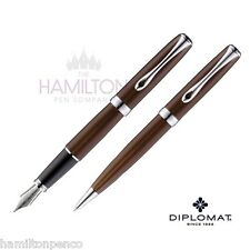 DIPLOMAT EXCELLENCE PEN GIFT SET - Marakesh Chrome fountain pen & ballpoint