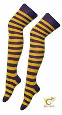 Over The Knee Purple And Yellow Harry Potter Hogwarts Style Stripey stripy Socks