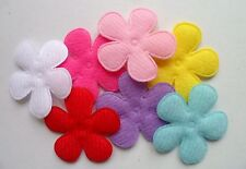 70pcs Padded Felt Velvet Daisy Flower Appliques Mix 33mm 7 Color