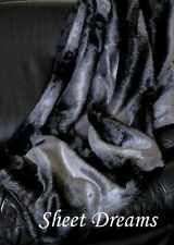 "Nicole Miller Faux Fur Ombre Throw Blanket Dark Gray Black 50"" x 60""  New Tags"