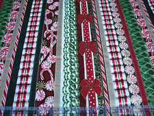 1 Yard Quilt Cotton Fabric - RJR Suite Christmas Candy Ribbon Stripe Gold Met