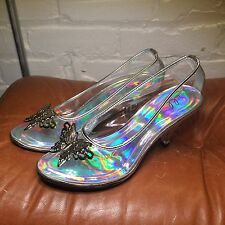 "Ellie Shoes Clear Cinderella ""glass"" Silver Butterfly Pumps Kitten 3"" Heel Sz 6"