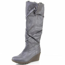 BOTTES FEMME 39 TALON COMPENSE GRIS FOURRURE REVERS SANGLE ZAZA2CATS