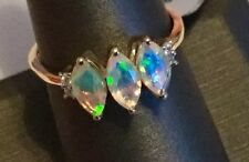 Size 8 Ethiopian Opal & White Zircon 10K Yellow Gold Ring Gorgeous Color Display