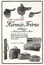 PUBLICITE HERMES SELLIER SELLE CASAQUE SAC TROUSSE MAROQUINERIE 1924 FRENCH AD