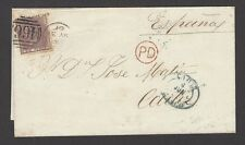Great Britain 1855 6d lilac on 1860 cover to Cadiz Spain SG 70