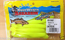 "SaltWater Bass Assassin 4"" Sea Shad Plastic Fishing Bait Fish Lure.. Limetruese"