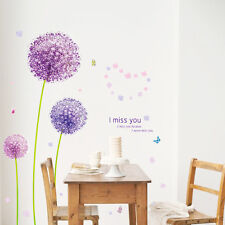 "Clearance Wall Sticker ""Purple Dandelian"" Removable Decal Wall  Vinyl Home Decor"
