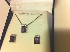 Sterling Silver Amethyst  Pendant and Earring Set