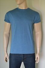 NEW Topman Rolled Up Sleeve Loose Fit Crew Neck Blue T-Shirt M