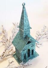 Victorian Teal Blue Glitter Putz Village Church Christmas Ornament Decoration
